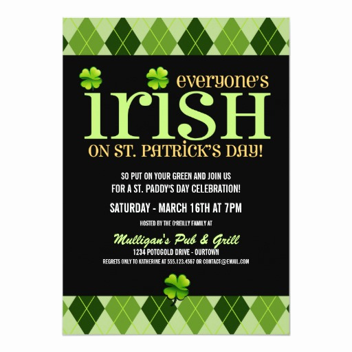 St Patrick Day Invitation Best Of Argyle St Patricks Day Party Invitations