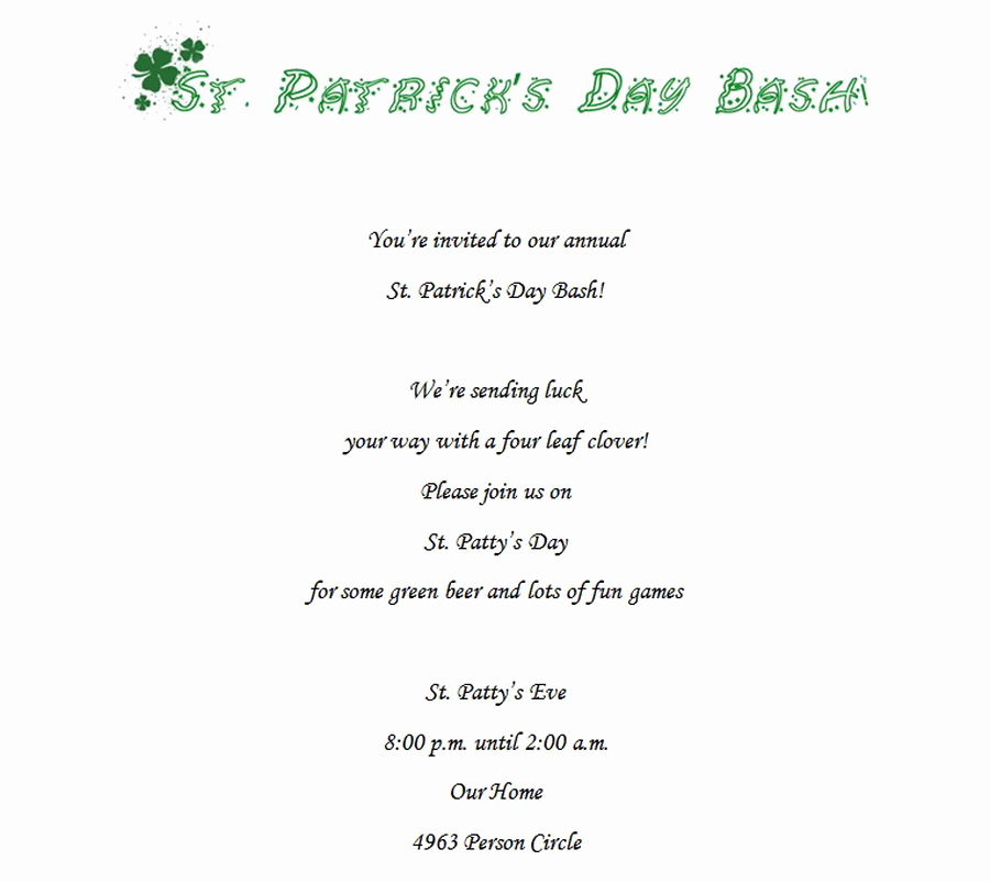 St Patrick Day Invitation Fresh St Patrick S Day