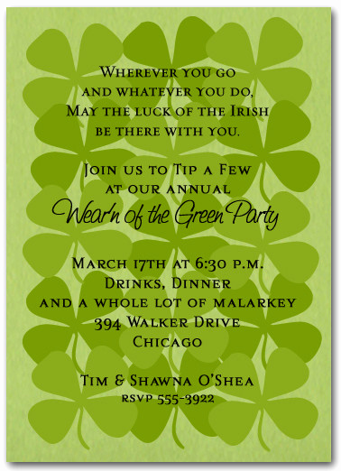 St Patrick Day Invitation Inspirational Shamrock Collage St Patrick S Day Invitations