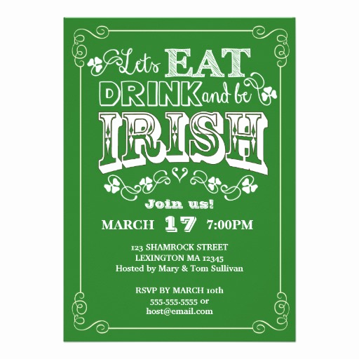 St Patrick Day Invitation Lovely Eat Drink & Be Irish St Patrick S Day Invitation Card