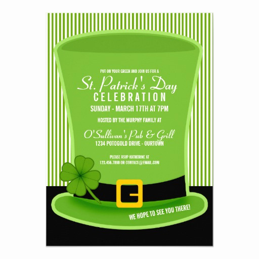 St Patrick Day Invitation Lovely Leprechaun Hat St Patricks Day Party Invitations