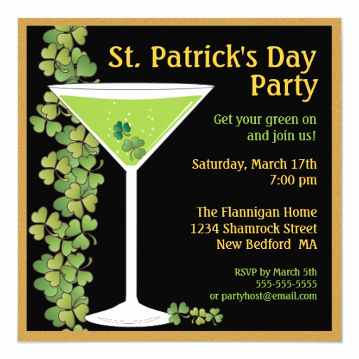 St Patrick Day Invitation Lovely St Patricks Day Shamrock Martini Invitation