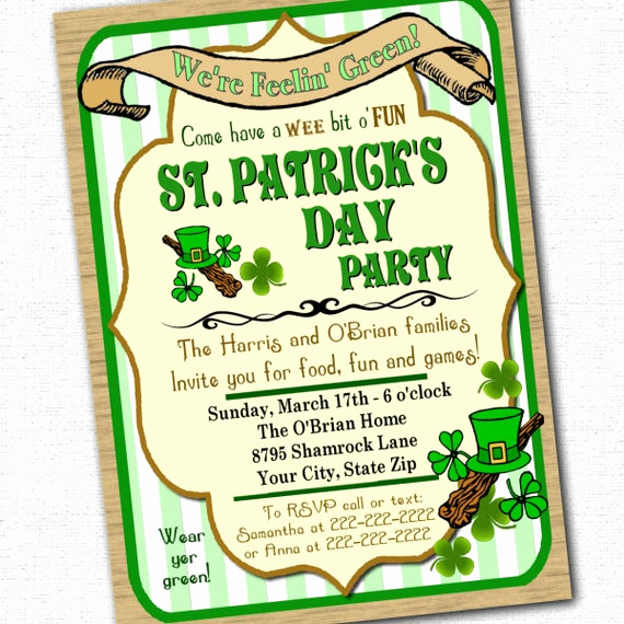 St Patrick Day Invitation Luxury St Patrick S Day Party Invitation Custom 5 X 7 by