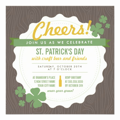 St Patrick Day Invitation New Craft Beer St Patrick S Day Invite Square Invitation Card