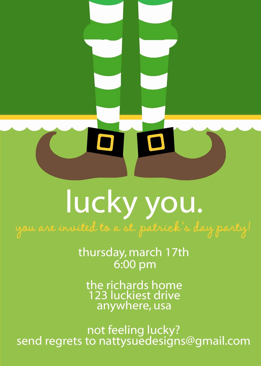 St Patrick Day Invitation Unique Lucky St Patrick S Day Party Invitation by Nattysuedesigns1