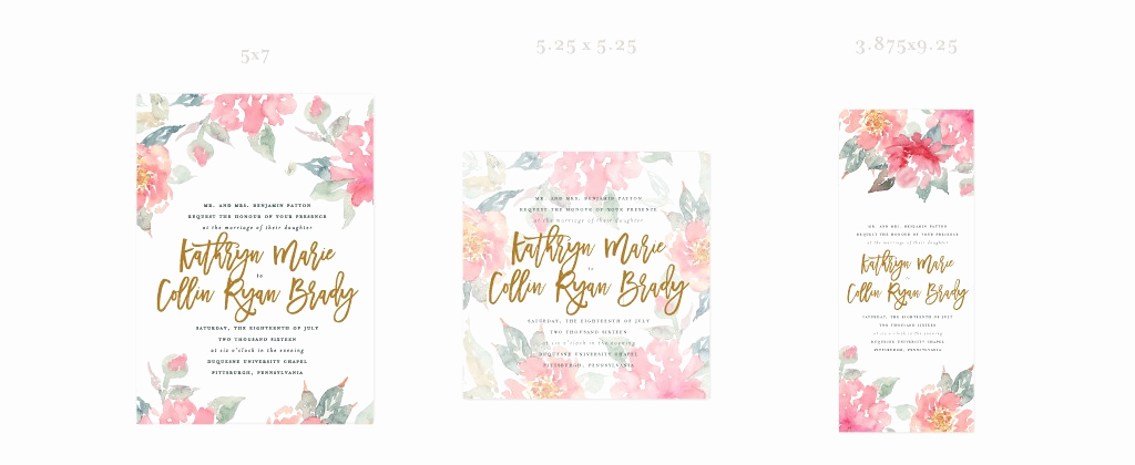 Standard Wedding Invitation Size Fresh Shapes Sizes and Embellishments Pittsburgh Luxury