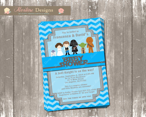 Star Wars Baby Shower Invitation Beautiful Blue Chevron Star Wars Baby Shower Invitation Digital File