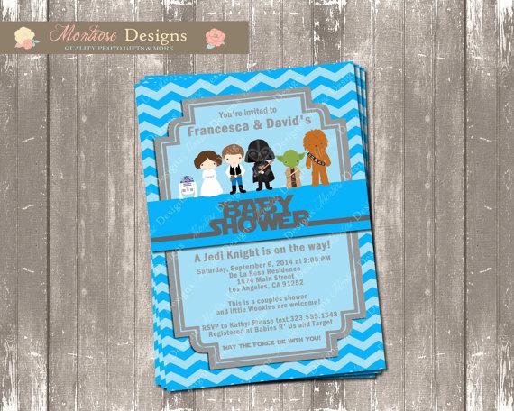 Star Wars Baby Shower Invitation Beautiful Blue Chevron Star Wars Baby Shower Invitation Digital File