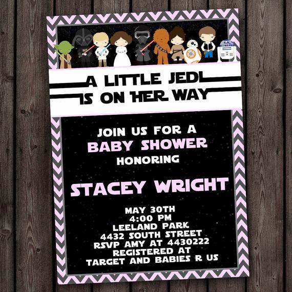 Star Wars Baby Shower Invitation Beautiful Girl Star Wars Baby Shower Invitation Customized Wording