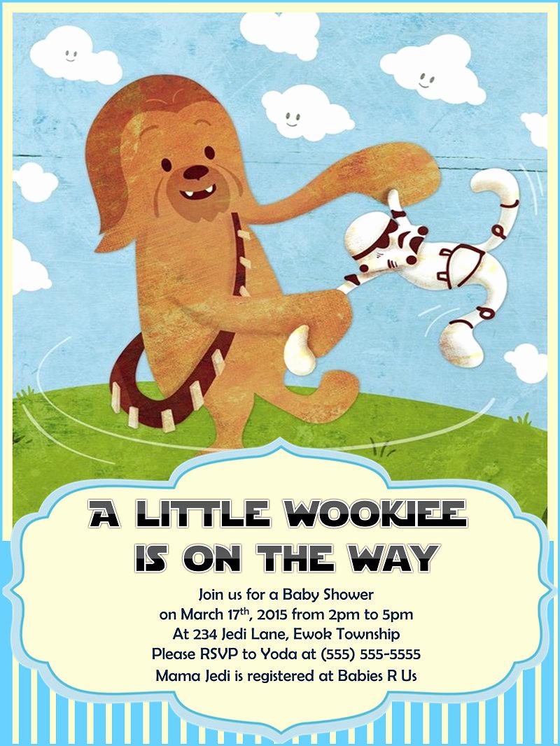 Star Wars Baby Shower Invitation Best Of Star Wars Baby Shower Invitation Chewbacca Boy by