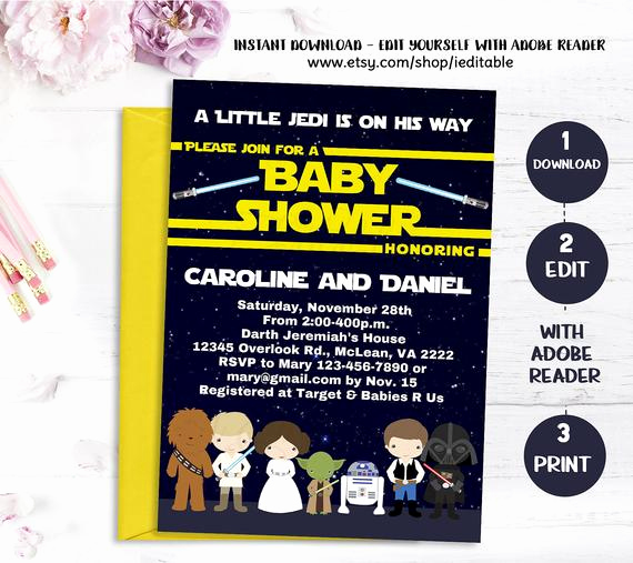 galaxy wars baby shower invitation star
