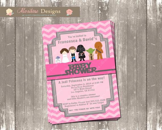 Star Wars Baby Shower Invitation Elegant Pink Chevron Star Wars Baby Shower Invitation Wel E Jedi