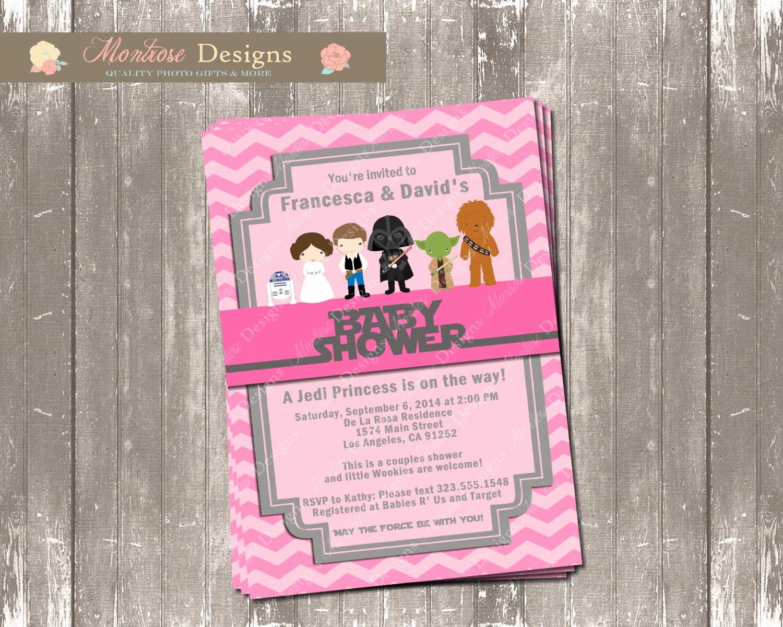 Star Wars Baby Shower Invitation Fresh Pink Chevron Star Wars Baby Shower Invitation Wel E Jedi