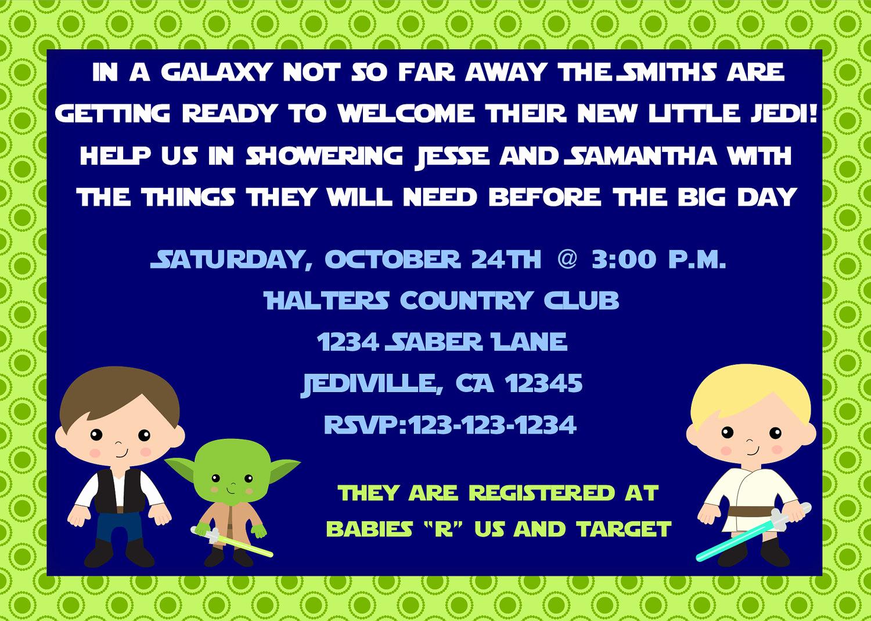 Star Wars Baby Shower Invitation Inspirational Jedi Star Wars Inspired theme Baby Shower Invitation Print