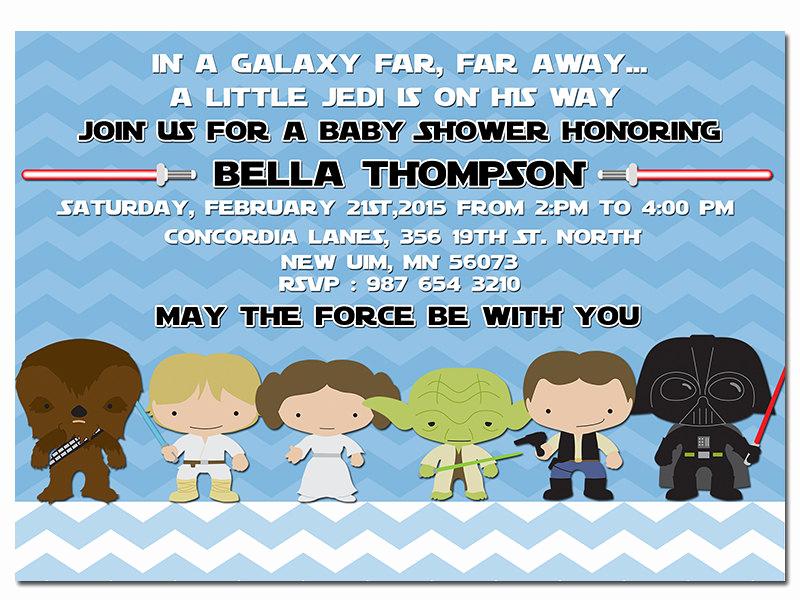 Star Wars Baby Shower Invitation Inspirational Star Wars Baby Shower Invitation Jedi Star by