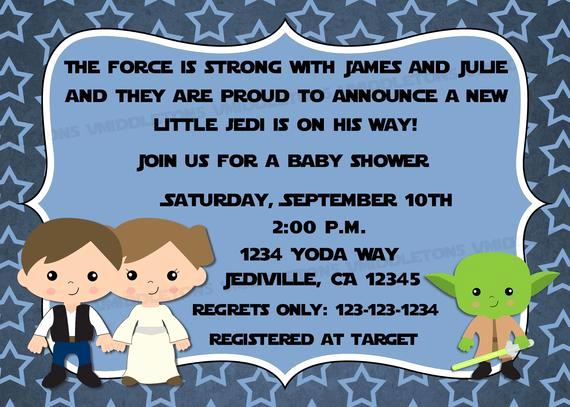 Star Wars Baby Shower Invitation Lovely Jedi Star Wars theme Inspired Baby Shower Invitation with