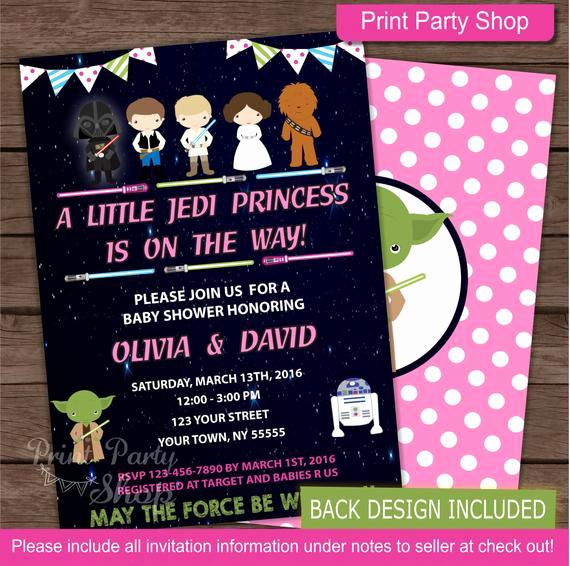 Star Wars Baby Shower Invitation Unique Girl Star Wars Baby Shower Invitation Baby Shower Invitation