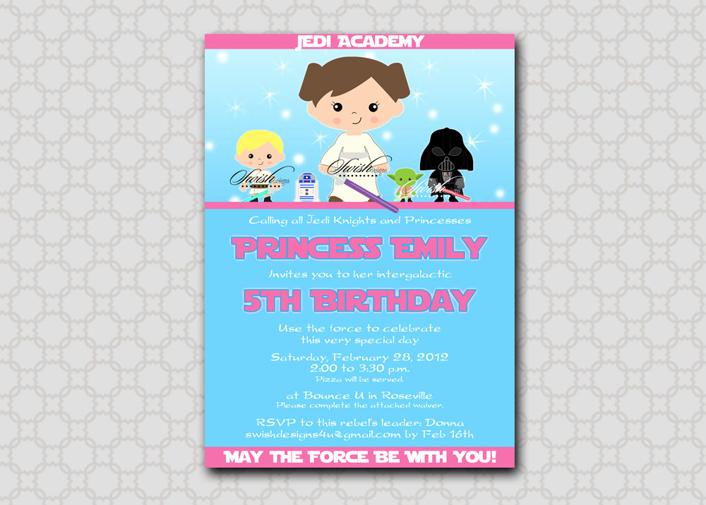 Star Wars Birthday Invitation Awesome Star Wars Birthday Invitation for Girls Birthday Invite