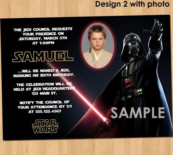 Star Wars Birthday Invitation Beautiful Star Wars Birthday Invitation Custom Invite Star
