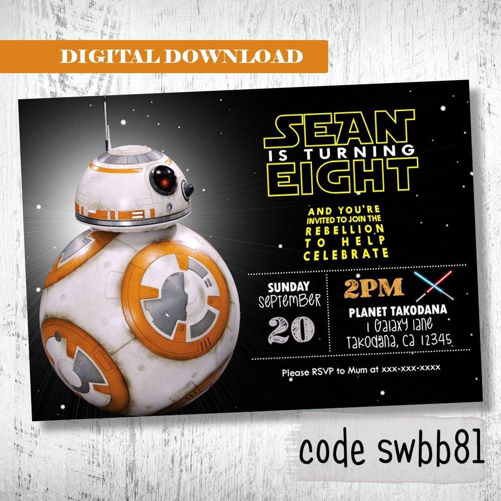 Star Wars Birthday Invitation Elegant Bb8 Star Wars Invitation Boys Birthday Invitation Darth