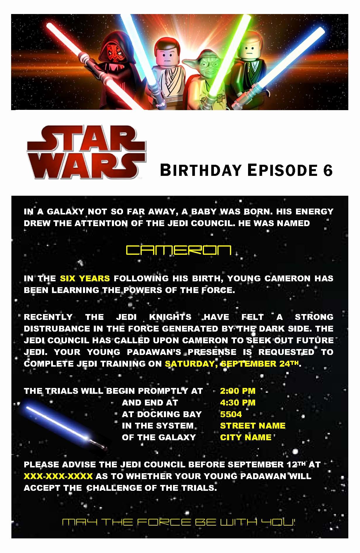 Star Wars Birthday Invitation Elegant Star Wars Birthday Party