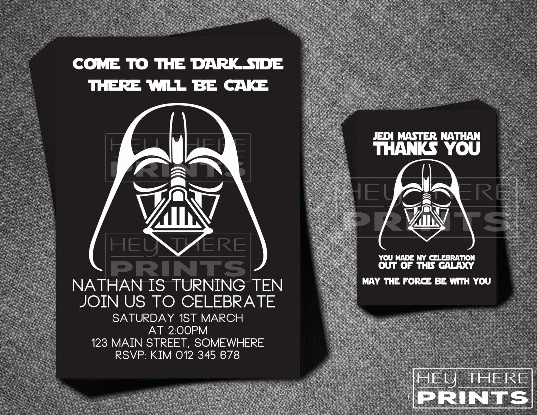 Star Wars Birthday Invitation Lovely Darth Vader Birthday Invitation and Thank You Card Star Wars