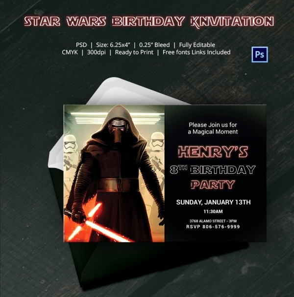 Star Wars Birthday Invitation Template Awesome 23 Star Wars Birthday Invitation Templates – Free Sample