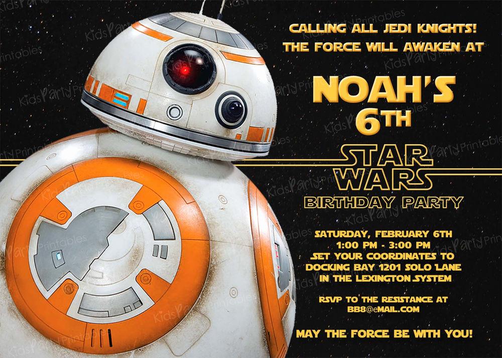 Star Wars Birthday Invitation Template Best Of 20 Bb8 Star Wars the force Awakens Birthday Party
