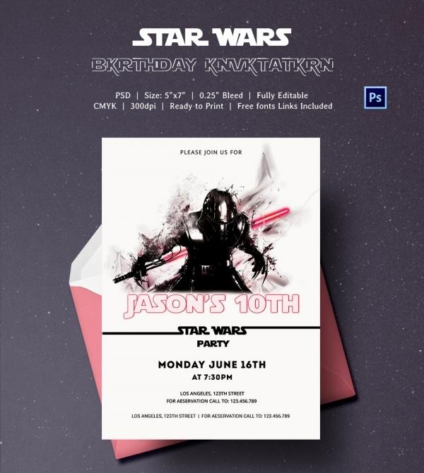 Star Wars Birthday Invitation Template Best Of 23 Star Wars Birthday Invitation Templates – Free Sample