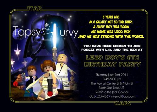 Star Wars Birthday Invitation Template Lovely Lego Star Wars Birthday Party Invitation