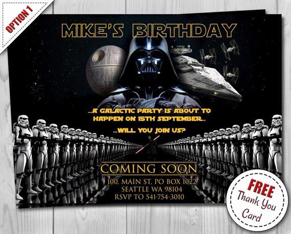 star wars birthday invitation darth
