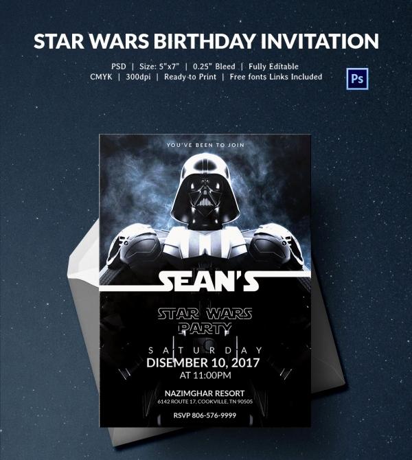 Star Wars Birthday Invitation Template New 23 Star Wars Birthday Invitation Templates – Free Sample