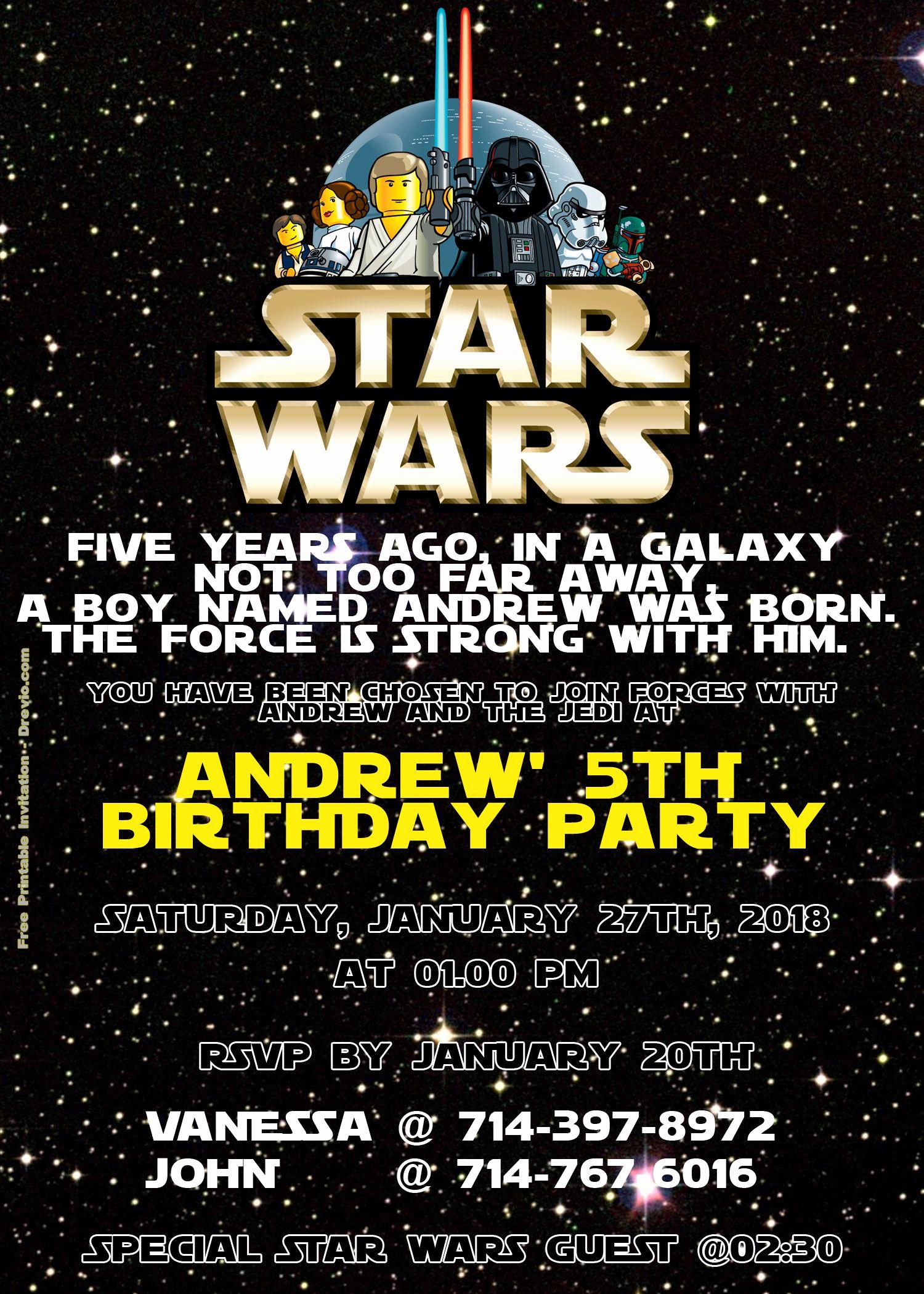 Star Wars Birthday Invitation Template New Free Lego Star Wars Birthday Invitation Psd