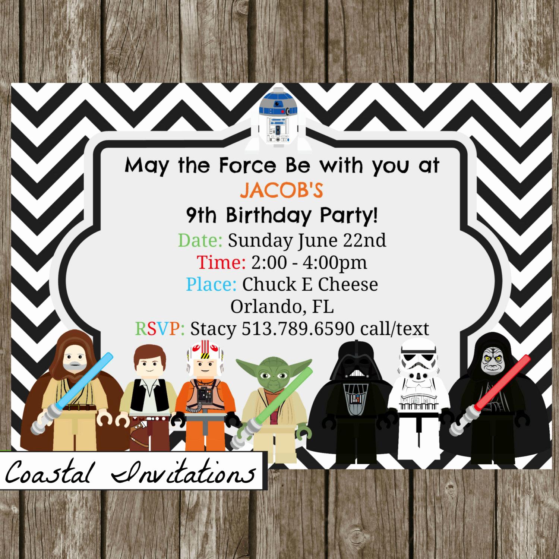 Star Wars Birthday Invitation Unique Lego Star Wars Birthday Party Invitation by Coastalinvitations