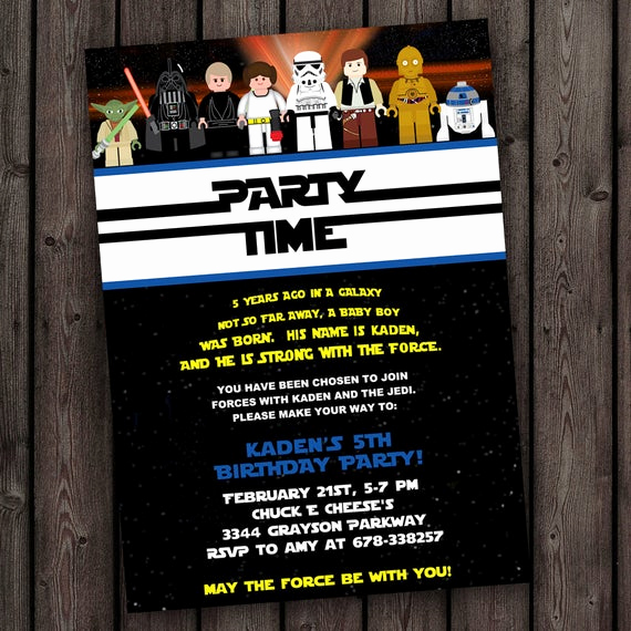 Star Wars Birthday Invitation Wording Awesome Star Wars Invitation Star Wars Birthday by Amyssimpledesigns