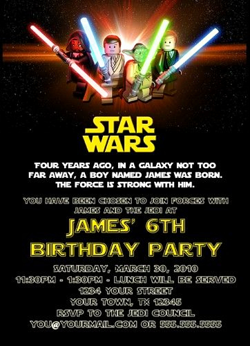 Star Wars Birthday Invitation Wording Beautiful Custom Printable Happy Birthday Invitation Lego Star