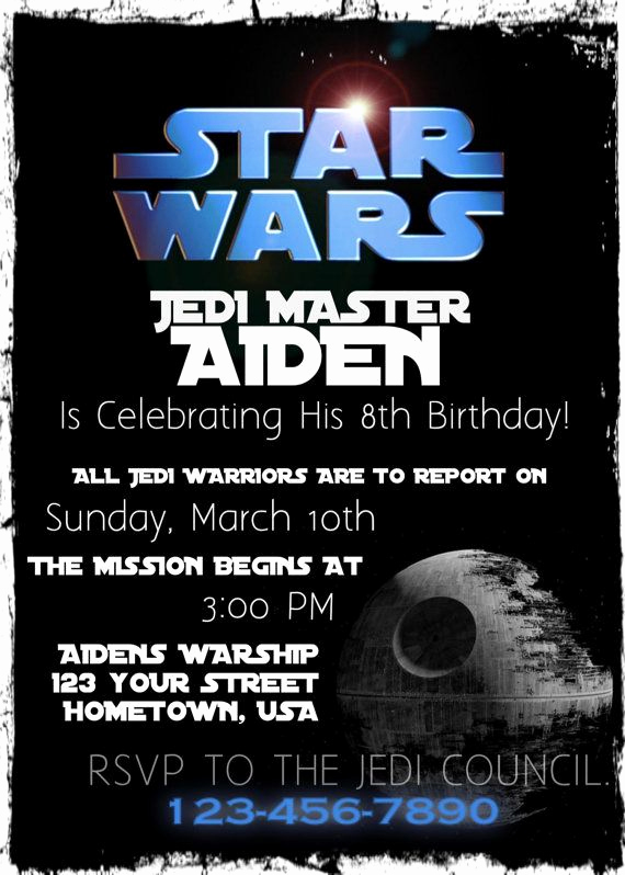Star Wars Birthday Invitation Wording Elegant Star Wars Birthday Party Invitation Printable by