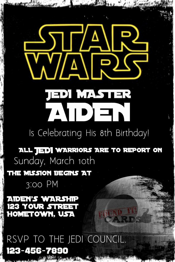 Star Wars Birthday Invitation Wording Fresh Star Wars Birthday Party Invitation Fully by Founditcards