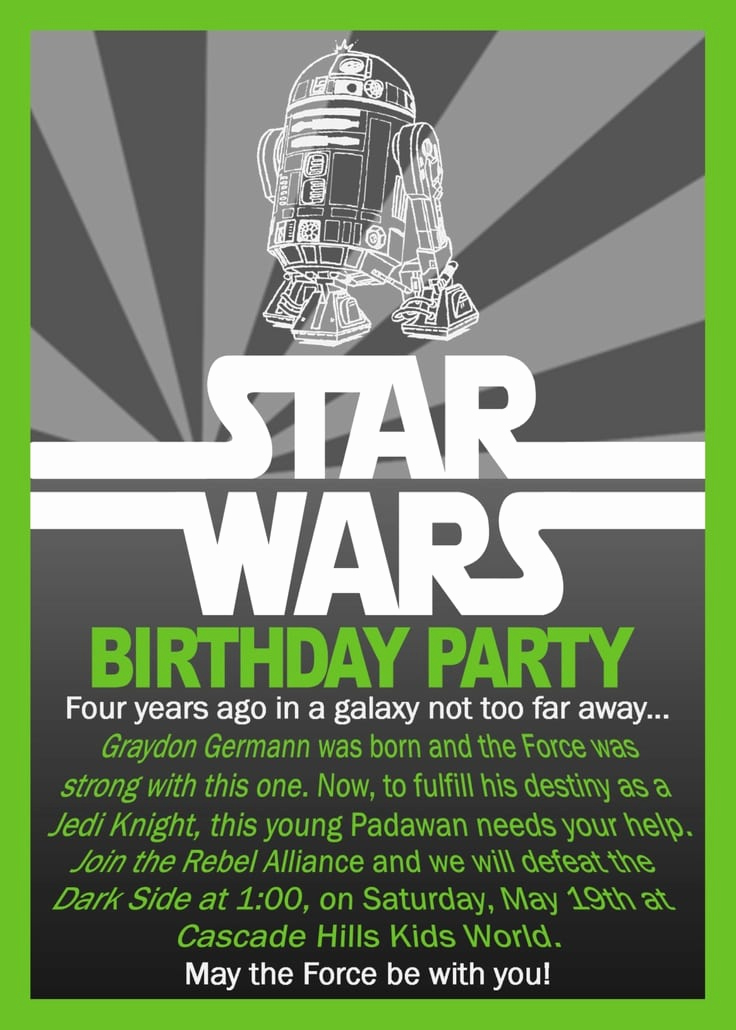 Star Wars Birthday Invitation Wording Unique Star Wars Birthday Invitation