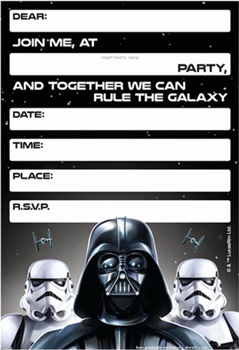 Star Wars Invitation Printable Free Elegant Free Printable Star Wars Birthday Invitations Template