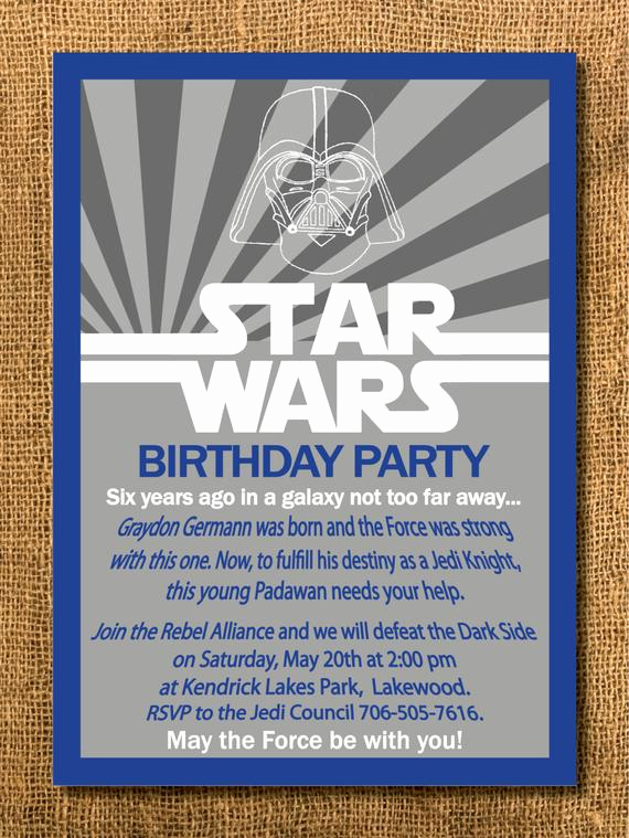 Star Wars Invitation Printable Free New Star Wars Birthday Invitation Printable by Graysgraphicdesigns