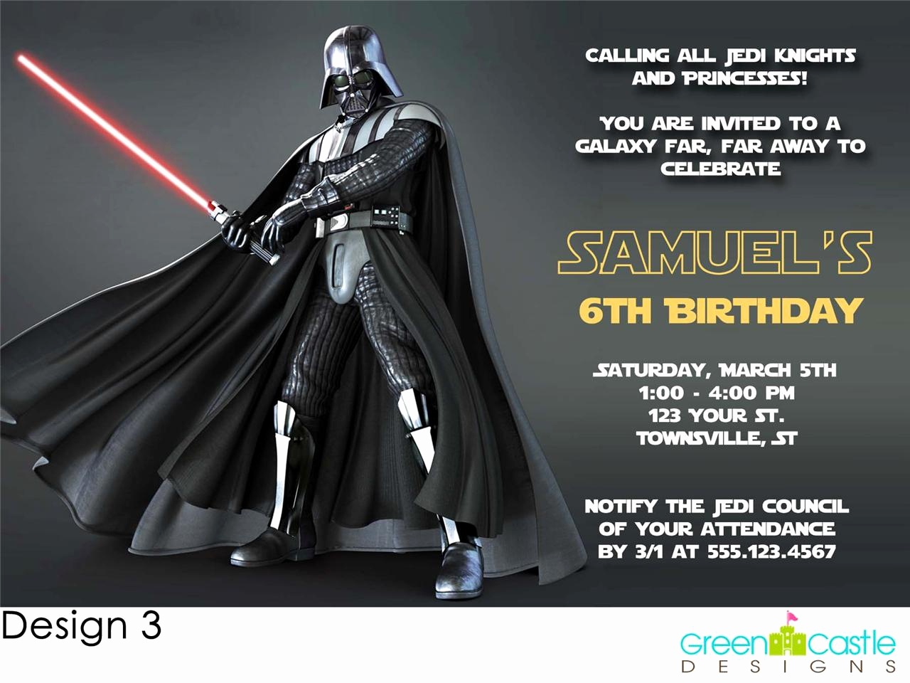 Star Wars Invitation Template Best Of 20 Star Wars Darth Vader Birthday Party Invitations