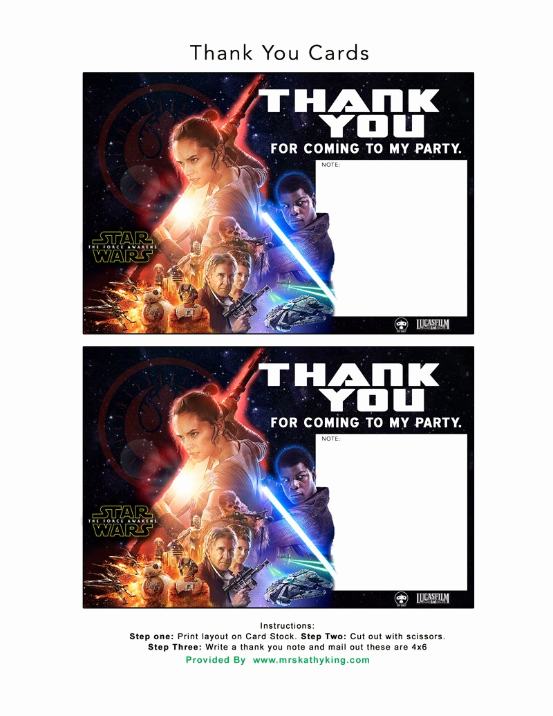 Star Wars Invitation Template Free Luxury Free Star Wars the force Awakens Invitation & Thank You