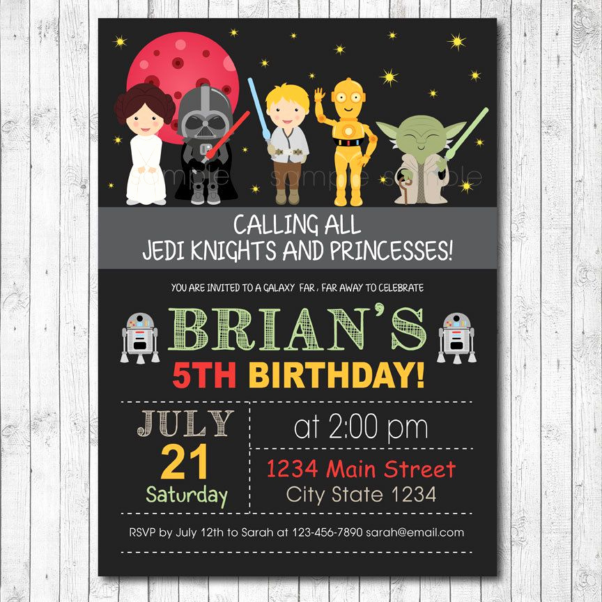 Star Wars Invitation Template Inspirational Star Wars Birthday Invitation Card Digital by