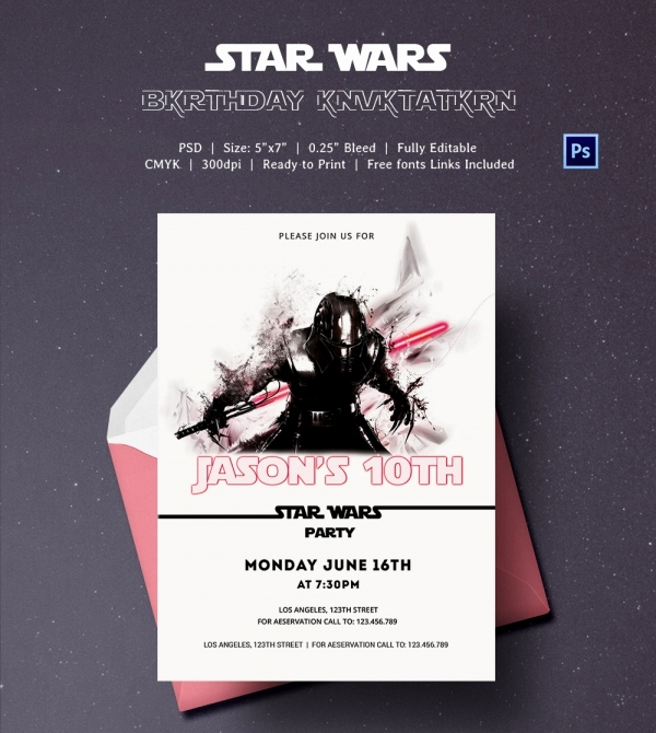 Star Wars Invitation Template Unique 23 Star Wars Birthday Invitation Templates – Free Sample