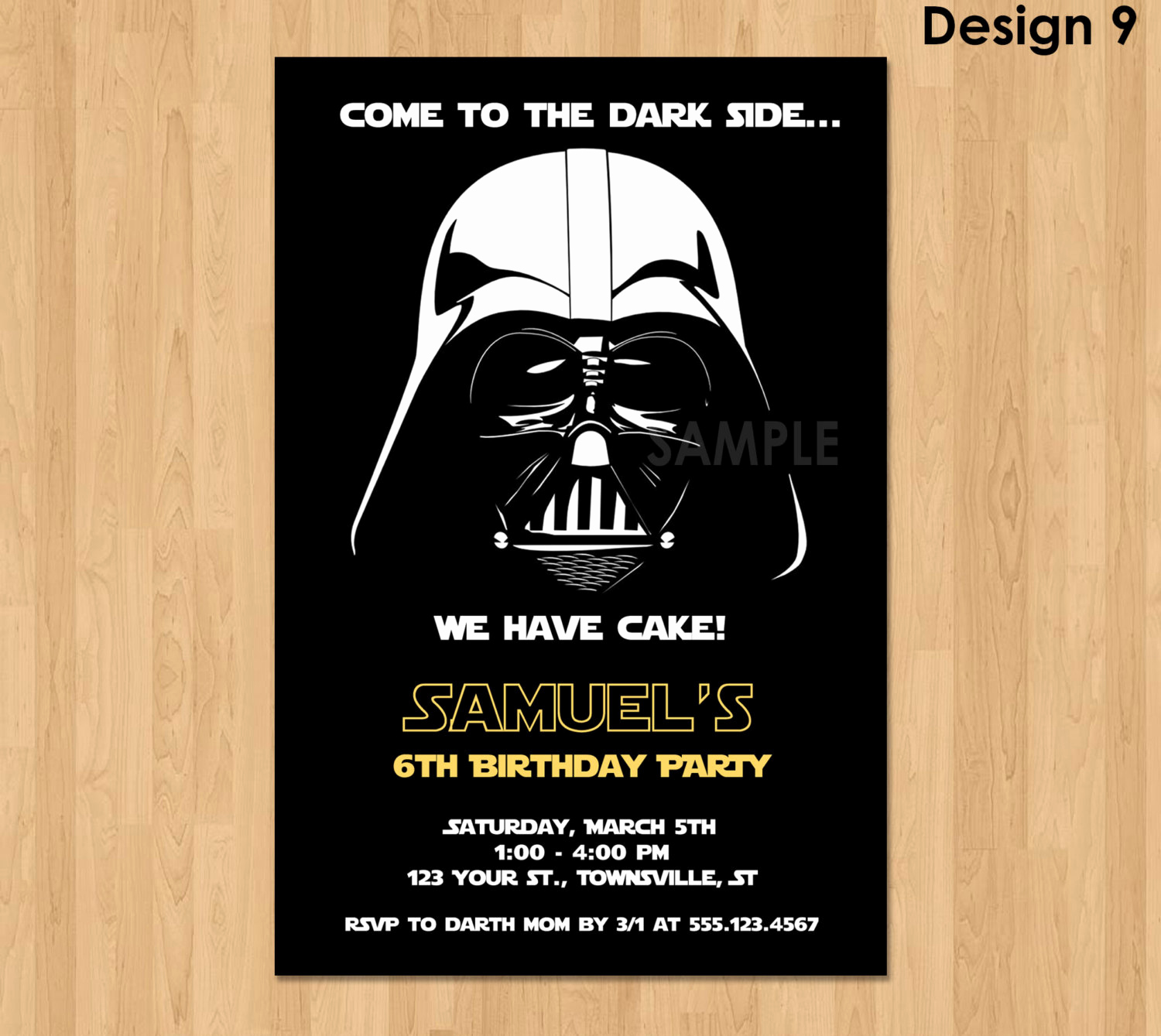 Star Wars Invitation Templates Beautiful Darth Vader Invitation Star Wars Birthday Invitation Star