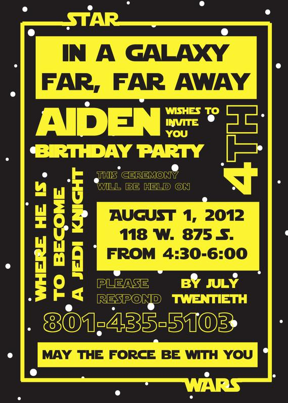 Star Wars Invitation Templates Beautiful Items Similar to Star Wars Birthday Party Invitation On Etsy