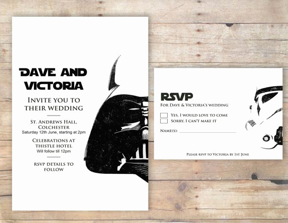 Star Wars Invitation Templates Best Of Star Wars Wedding Invitation Rsvp & order Of Ceremony
