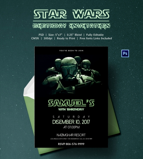 Star Wars Invitation Templates Free Beautiful 23 Star Wars Birthday Invitation Templates – Free Sample