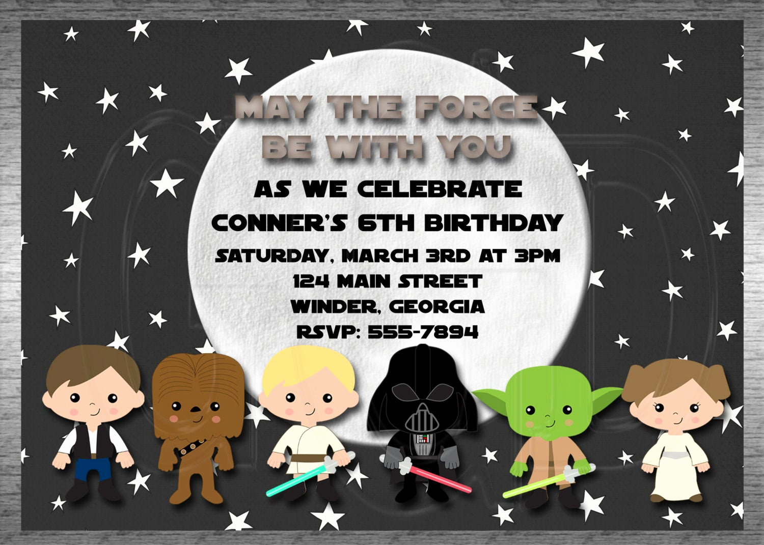 Star Wars Invitation Templates Free Inspirational Galaxy Star Wars Invitation Inspired Boy or by